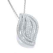 "J-Jaz Micro Pave' Fancy Leaf Pendant Cz with 18"" Chain"